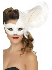 Colombina Ornate White Feather Eye Mask